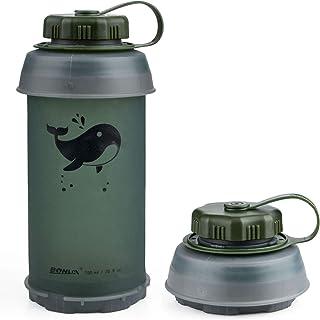 LouisaYork Botella de Agua Plegable de Viaje, 750 ml, sin BPA, antigoteo, Reutilizable, Ligera, Ideal para Deporte, Ocio, Exterior y Viajes