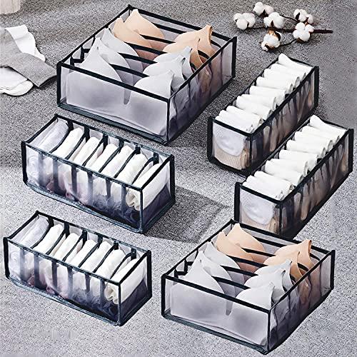 Auflosung Organizador de Cajones de Ropa Interior, Caja De Almacenamiento De Ropa Interior Plegable, Caja de Almacenamiento, Para Sujetadores, Calcetines (Negro, 6 Celdas + 7 Celdas + 11 Celdas)