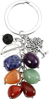 MANIFO - Llavero de cristal natural de 7 chakras, con piedra de lava árbol de la vida, reiki curación llavero