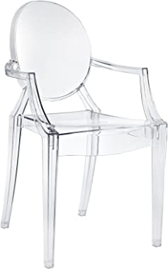 Modway Casper Modern Acrylic Stacking Kitchen and Dining Room Arm Chair in Clear - Fully Assembled