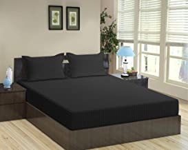 Trance Home Linen 100% Cotton 210TC Satin Stripe Queen Double Fitted Bedsheet with 2 Pillow Covers (Black, 78 x 60-inches)