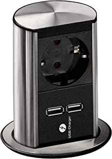 Bachmann 928.017 Eluttag Elevator 1 X Schuko-2X Usb-Laddningsuttag, En Storlek, Svart-Silver