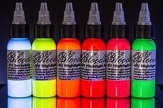 Bloodline 6 Color Tattoo Black Light UV Ink Highlight Set (1/2 oz)