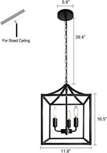 3-Light Black Farmhouse Pendant Lighting Fixture Square Industrial Chandelier Loft Ceiling Light for Kitchen Dining Room Bedroom Foyer