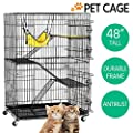 Topeakmart Rolling Large Cat Kitten Cage