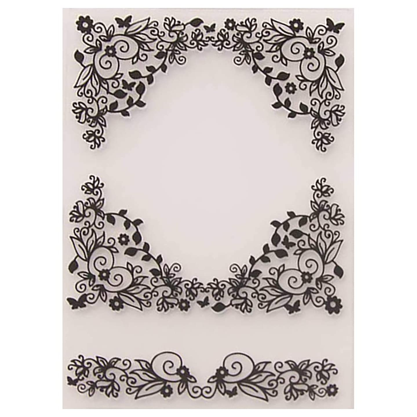 Kwan Crafts Flowers Corner Plastic Embossing Folders for Card Making Scrapbooking and Other Paper Crafts,10.4x14.6cm