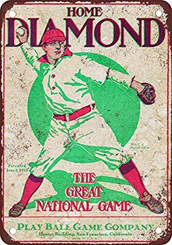 Lorenzo Home Diamond Baseball Brettspiel Vintage Metall Eisen Malerei Plakette Poster Warnschild Wohnzimmer Cafe Bar Bier Club Party Weihnachten Hochzeit Dekoration