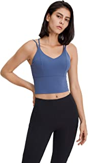 Cross Back Yoga Bras, Women Sexy Shockproof Breathable Workout Running Sports Yoga Bra,Blue,4