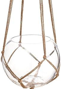 Musuntas 3pcs macramé Plante Cintre Panier support de pot de fleurs macramé à suspendre vintage noué levage Corde Plante Cintre Jardin Décorations pour l'intérieur ou l'extérieur