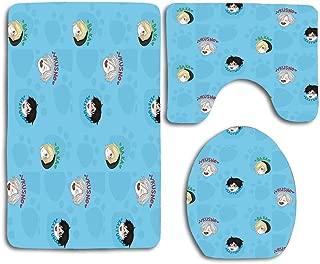 KKblingRen Non-Slip 3 Piece Soft Yuri On Ice!!! Chibi Bath Rugs Set Washable Bathroom Rug + Contour Mat + Toilet Seat Cover,Floor Rug for Doormats Tub Shower Room Decorations