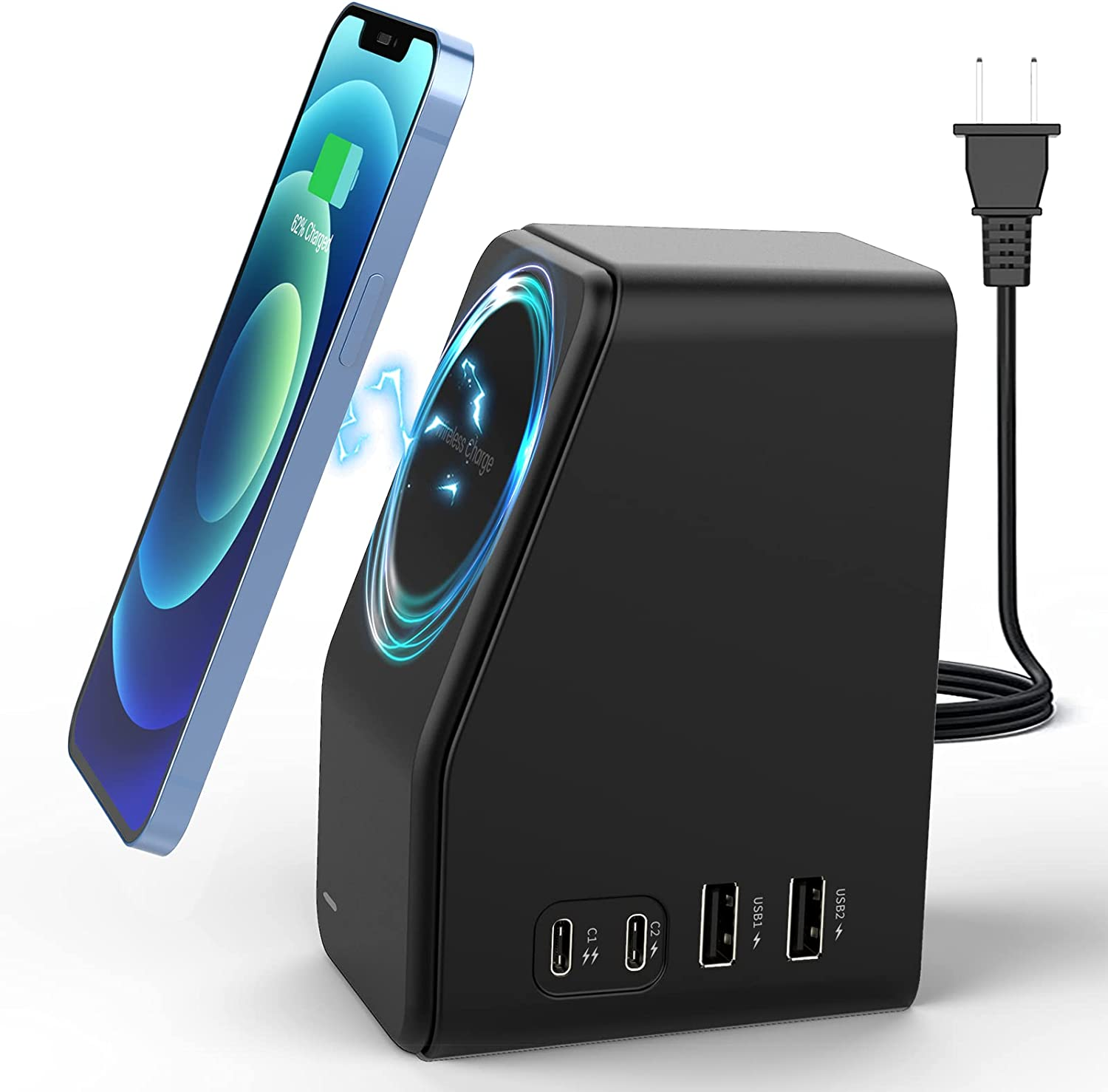 USB C Charging Station - 78W 4-Port Fast Desktop Multi Wall Charger Hub Dock Station, USB C and USB A Multiport for iPhone 13/12 Mini, MacBook Pro/Air, iPad, Samsung, with Magnetic Wireless Charger
