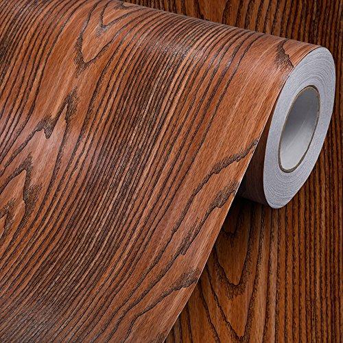 Grain de bois contacter papier autocollant en vinyle Shelf Liner couvrant pour comptoir de cuisine Armoires tiroir meubles Sticker mural 60x300cm