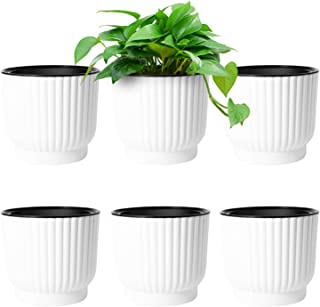 T4U 6 Inch Self Watering Pots for Indoor Plants, 6 Pack White Plastic Flower Pots for All House Plants, Flowers, African Violets