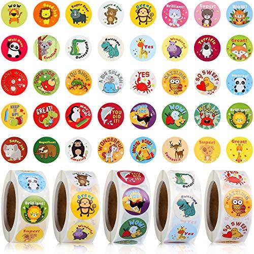 2500 Pieces Reward Stickers for Teachers Motivational School Stickers for Children School Stickers on Sheets School Reward Stickers Animal Cartoon Motivational Stickers 1 Inch 5 Rolls 40 Styles Label