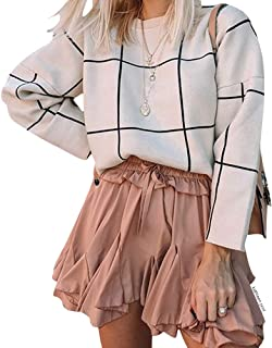 Women's Comfy Casual Long Sleeve Cream Grid Turtleneck/Round Neck Knit Top Pullover Sweater/Sweater Dress