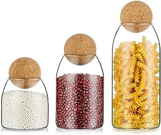 Lot De 3 Bocaux en Verre Multipack Mason Bocaux avec Couvercle Conteneurs De Stockage des Aliments Hermétiques pour Le Sto...