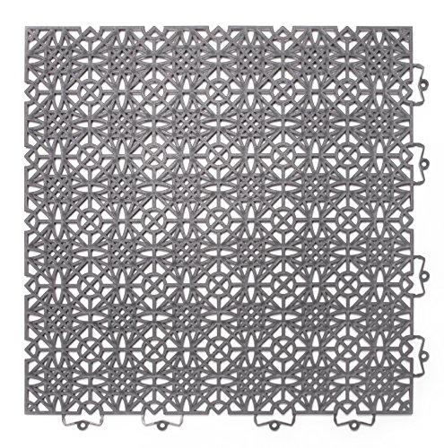 andiamo 202403 Kunststofffliese Balkonfliese Innen- und Außenbereich Wasserdurchlässig wetterfest pflegeleicht langlebig 38 x 38 cm, Set: Bestehend aus 7 Fliesen 1 m², dunkelgrau