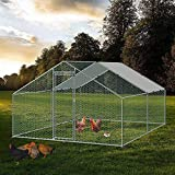Large Chicken Coop Walk-in Metal Poultry Cage House Rabbits Habitat Cage Spire Shaped Coop with Waterproof and Anti-Ultraviolet Cover for Outdoor Backyard Farm Use (9.8' L x 13.1' W x 6.56' H)