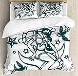 Juego de funda nórdica Anchor Queen, traje de marinero náutico de chica pin-up rodeado de estrellas de golondrina dibujado a mano, juego de cama decorativo de 3 piezas con fundas de 2 almohadas, verde