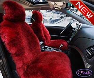 Sisha Winter Warm Authentic Australia Sheepskin Car Seat Cover Luxury Long Wool Front Seat Cover Fits Most Car, Truck, SUV, or Van (Wine red)