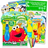 Elmo Sesame Street Paint with Water Super Set for Girls Kids Bundle ~ Deluxe Mess-Free Book with Water Surprise Brush, Mini Coloring Book, and Stickers (Sesame Street Party Supplies)