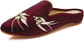 Redluck Women's Chinese Swallow Embroidery Pointed-Toe Comfortable Satin Casual Mules House Pumps Slippers Shoes