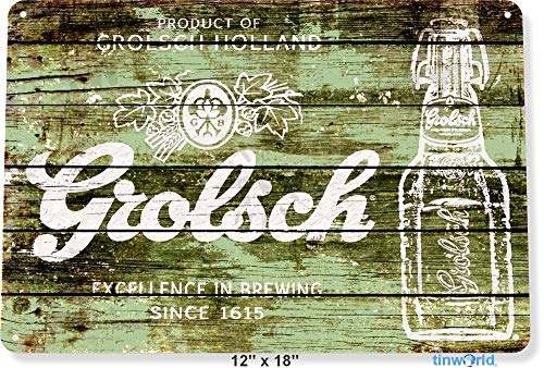 TIN SIGN Grolsch Holland Bier Bar Pub Brouwerij Rustieke Metalen Decor B569 Metalen Tin Teken 8X12 Inch
