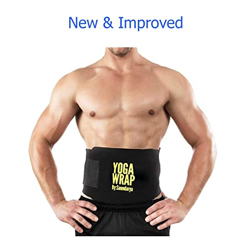 Saundarya Yoga Wrap Sweat Belt Tummy trimmer for Men and Women, fit for 28 to 38 Inches waist
