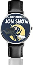 Unisex Business Casual Les Adventures De Jon Snow Tintin Game of Thrones Watches Quartz Leather Watch with Black Leather Band for Men Women Young Collection Gift