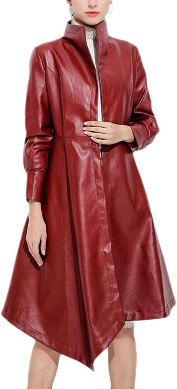 Ouxiuli Women's Slim PU Leather Stand Collar Open Front Irregular Swing Long Trench Coat Outwear