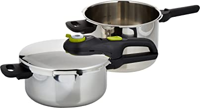 TEFAL 6 Liter + 4 Liter Secure 5 Pressure CookerCombo Set, Silver, Stainless Steel, P2544342