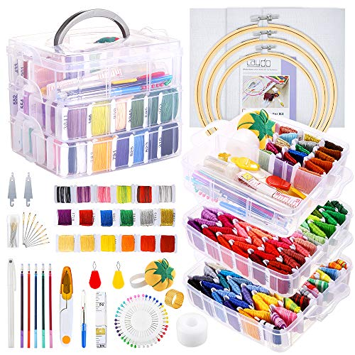 Caydo 254 Pieces Embroidery Kit with Instructions, 162 Color Threads with 3-Tier Transparent Storage Box, 3 Pieces Aida Cloth, Embroidery Hoops and Cross Stitch Tools for Beginners