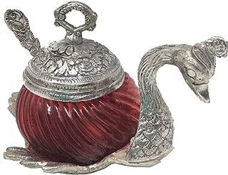 JedaJeda Red Swan Sugar Bowl White Oxidize Metal Decorative
