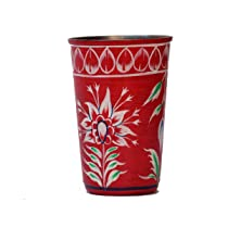 eCraftIndia Handpainted Decorative Steel Glass – 101 Red Color