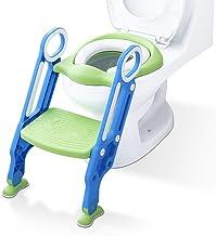 Aerobath Reductor WC niños Aseo Asiento con Escalera, Orinales para niños Asiento para inodoro de bebe Orinal infantil Formación, Antideslizante, Plegable, Altura Ajustable para 1-7 niños - Verde