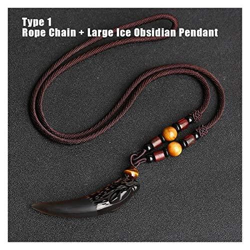 XUXUN Diente de Lobo Negro Colgante de obsidiana Collar Amuletos y talismanes Pareja de Piedra Natural Collar for Las Mujeres de los Hombres joyería afortunada (Metal Color : Type 1)