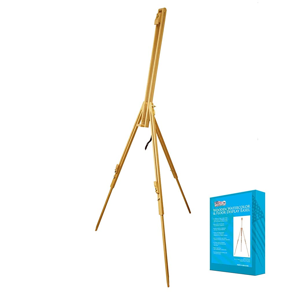 US Art Supply Harbor Watercolor Lay Flat Portable Wood Field Sketch Easel with Foldable Tripod Legs