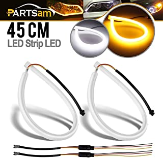 Partsam 2X 45cm Illuminate White/Amber Switchback LED Strip Lights Headlight Side Glow, White-Amber Dual Color LED Strip Tube Switchback Headlight DRL and Turn Signal Light