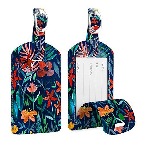 [2 Stück] Fintie Kofferanhänger aus Kunstleder, Gepäckanhänger ID Etikett mit Adressschild Namenschild für Reisetasche Koffer, Dschungelnacht