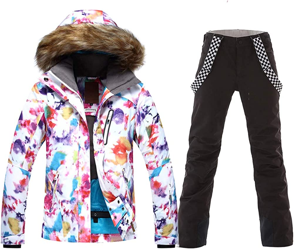 HOTIAN Free shipping Womens Ski Jacket and Pants Hooded Direct stock discount Windproof Fur Snowsuit