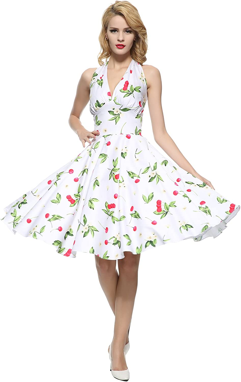 Maggie Tang Women's 1950s 60s Vintage Rockabilly Halter-Neck Swing Dress