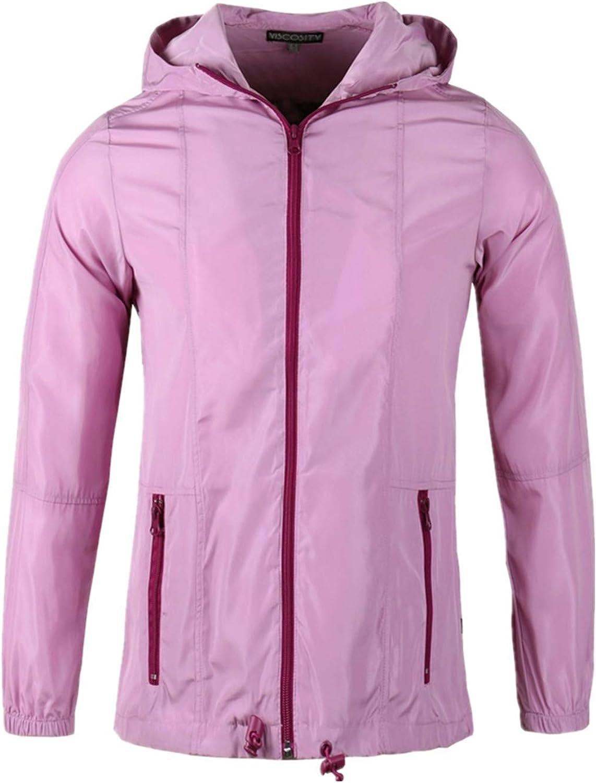 Beautiful Giant Womens Solid Color Hood Windbreaker Performence Lightweight Full-Zip Work Out Jacket Outwear