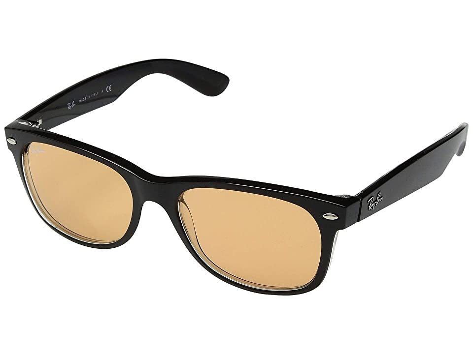 Ray-Ban RB2132 New Wayfarer 55mm (Transparent/Shiny Black/Dark Yellow/Anti-Reflective) Fashion Sunglasses