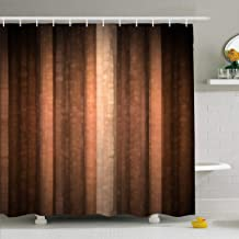 Ahawoso Shower Curtain Set with Hooks 72x72 Cool Vintage Orange Copper Brown Red Pale Peach Material Grungy Abstract Tone Earth Textures Lines Waterproof Polyester Fabric Bath Decor for Bathroom