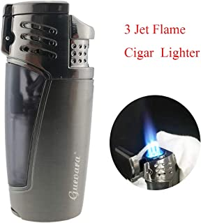 Cigar Lighters Torch with Punch 3 Jet Flame Butane Lighter Refillbale High Quality Windproof Lighters[Gas Not Include]