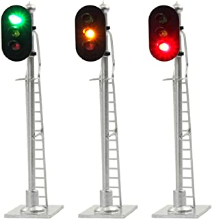 JTD873GYR 3PCS Model Railroad Train Signals 3-Lights Block Signal HO Scale 12V Green-Yellow-Red Traffic Lights for Train Layout New