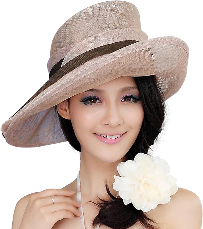 June's Young Summer Women Hat Roll Up Brim Elegant Women Summer Dress
