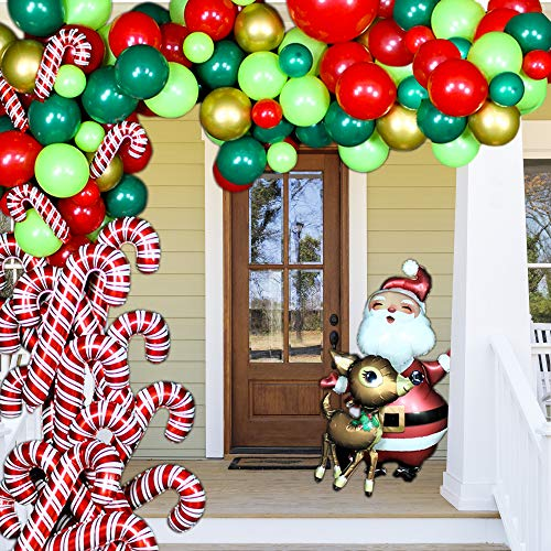 BONROPIN Birthday Balloon Garland Arch kit 132 Pieces with Santa Balloon, Elk Balloon, Christmas Red White Cane Candy Balloons, Red/Green/Light Green/Gold Balloons for Birthday Party Decorations