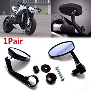 Ugthe 1 Pair Universal Motorcycle Handle Bar End Rearview Side Mirrors Replacement - Black