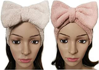 2Pack Microfiber Headband,Wash Face Cosmetic Mask Shower Spa Headband Skincare Makeup Headband Hairband for Women,Bow Headband,Fluffy Coral Fleece Headband (pink+khaki)
